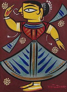 Dancer by Jamini Roy Pichwai Paintings, Indian Art Paintings, Madhubani Art, Madhubani Painting, Fabric Painting, Fabric Art, Jamini Roy, Bengali Art, Rajasthani Painting