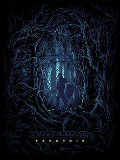 Black Sabbath Limited Silkscreen Paranoid by Dan Mumford Rock Posters, Concert Posters, Dan Mumford, Rock Y Metal, Classic Album Covers, Heavy Metal Art, Acid Art, Satanic Art, Dark Ink