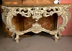 Rococo Style Marble Top Console Table