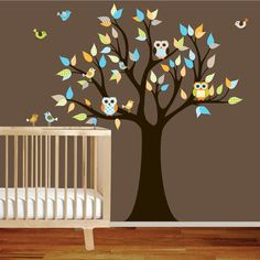 future nursery will have owls. fo sho. there will be three generations of owl lovers in this family! Owl Wall Decals, Baby Room Wall Decals, Wall Decal Sticker, Wall Murals, Tree Decals, Owl Nursery, Baby Nursery Decor, Nursery Ideas, Baby Boy Rooms