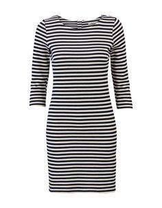 Gestreepte jurk met een ronde hals en driekwart mouwen. Het is een aansluitend model, gemaakt van katoen stretch kwaliteit. #MissEtam