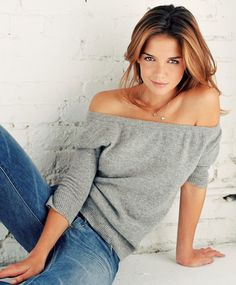 off the shoulder sweater katie holmes