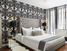 Bedroom : Cozy Modern Bedroom Feature Wallpaper White Fabric Pillow Grey Fur Pillow White Bed Linen Grey Tufted Headboard Black Wooden Table Lamp Chrome Stainless Side Table Black Transparent Curtain Glamorous Bedroom Decorating Ideas Master Bedroom Decor Ideas. Colonial Style Bedroom. Glamorous Bedroom Ideas.