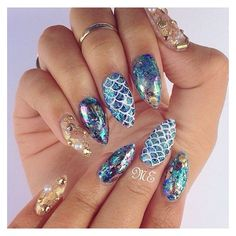 "Naomi Giannopoulos on Instagram: ""Mermaid life nails by... ❤ liked on Polyvore featuring beauty products and nail care"