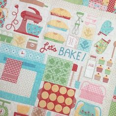 Get your Let's Bake Quilt Kit and Sew Simple Shapes at EllaKates and be ready to stitch when Lori Holt's new Sew Along begins January 22nd.Details are posted on Lori Holt's blog beeinmybonnetco.blogspot.com. #cphotography04 #ellakates #beelori1 #bakesale #beeinmybonnet #rileyblakedesigns #havasewquilts. #kingmanquilts #daisycottagegoods #quilts #sewalong