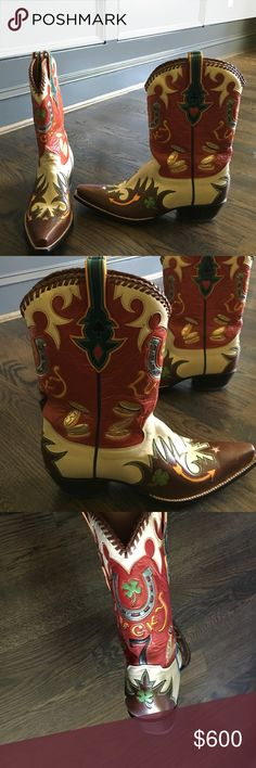 """Custom cowboy boots size women's 10 Back at the Ranch custom cowboy boots size women's 10. These beautiful """"lucky"""" boots have horseshoes, 7 coins, and lucky clovers. These boots have never been worn and are in excellent condition. Shoes Heeled Boots"""
