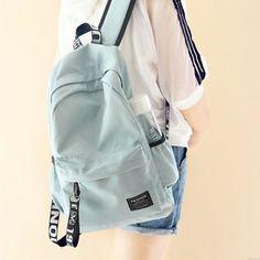 Adrette junge einfache Wasserdichte Reine Farben-Buchstabe-Gurt-frische Schultasche Reise-Rucksack Lace Backpack, Retro Backpack, Striped Backpack, Backpack For Teens, Travel Backpack, Backpack Bags, Fashion Backpack, Messenger Bags, Fashion Bags