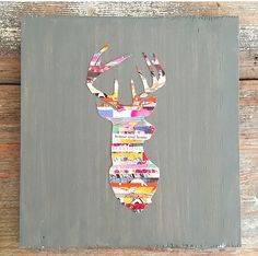 Deer -  Put magazine strips thru a paper shredder. Then decoupage on to wax paper. Once you have enough to cover your deer stencil, trace and cut out. Then you decoupage it onto your painted board.