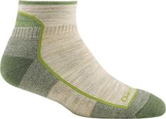 Solid 1/4 Sock Cushion. Green Tea. $17. Made in Vermont. Merino Wool, Nylon, Lycra spandex. Seamless.