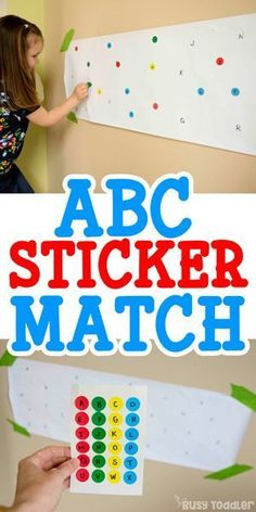ABC Sticker Match Activity for Preschoolers - Busy Toddler - - Looking for an alphabet activity? Try this ABC Sticker Match activity for toddlers and preschoolers. It's a perfect indoor activity that's quick and easy to set up. Letter Activities, Preschool Learning Activities, Preschool Classroom, Toddler Preschool, In Kindergarten, Fun Learning, Toddler Activities, Teaching Toddlers Letters, Home School Preschool