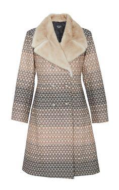 Geometric Metallic Fade Jinou Coat with Fur Trim - Creatures of the Wind Resort 2016 - Preorder now on Moda Operandi