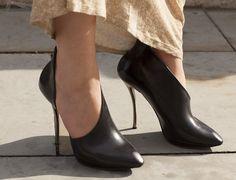 black leather  Lanvin shoes London Fashion Week Street Style #LFW