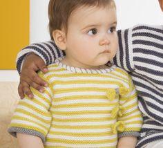 Un petit modèle de pull rayé tellement tendance pour le tout petit, tricoté en ' laine partner 3.5 ', coloris Soufre, Blanc et Acier.