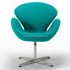 Swan Chair, Turquoise Bouclé Cashmere Wool |