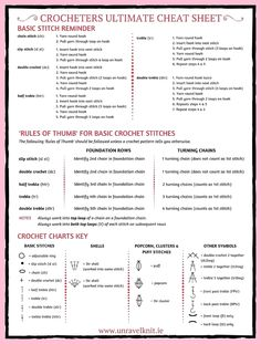 Ultimate Crochet Cheat Sheet featured in 20 more yarn hacks to make your next project even easier! Filet Crochet, Basic Crochet Stitches, Crochet Chart, Crochet Basics, Crochet For Beginners, Crochet Hooks, Crochet Patterns, Crochet Abbreviations, Crochet Organizer