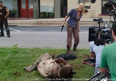 Laurie Holden (Andrea) behind the scenes.