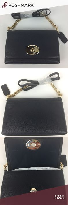 """Coach Crosstown Crossbody in Navy Pebble Leather Condition: New, without Tag. Grade A - never used.  Updated in polished pebble leather with a bit of shine, this chic chain crossbody is elegantly sized for just the essentials. Its minimalist interior is secured by a playfully proportioned, lavishly plated update of the iconic Coach turnlock. Polished pebble leather, Inside multifunction pocket, Turnlock closure, fabric lining.  Strap with 22 drop for shoulder or crossbody wear.  9"""" (L) x 5…"""