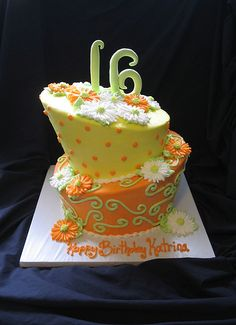 Lime Green Orange and Yellow Topsy Turvy 2 tier with daisy… | Flickr