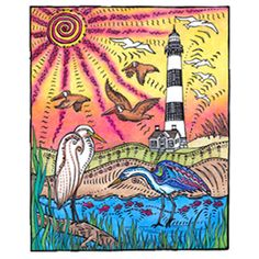 Herons, pelicans, seagulls, and fish surround the Bodie Island Lighthouse.    Primitive style Bodie Island Lighthouse Fine Art Prints by Hatteras Island Local Artist (c) Stephanie Kiker, available at Blue Pelican Gallery In Hatteras NC