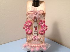Shabby Chic Wine Bottle Gift Tag.   A bottle is a bottle (no matter what it is)......BUT......when you dress it up, it tells that person that They and The Occasion are so very special :)