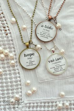 """Word Of The Year Pendants - Customize With Your Own Word - Is there one word that has inspired you throughout your life, or maybe one word you want to focus on for the year? Or perhaps you want to send a """"word"""" of encouragement to someone who is going through something difficult. Choose from one of our inspirational words and meanings, or personalize your own pendant with a custom word and definition."""