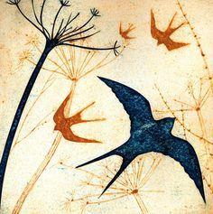 'Swallows' by Printmaker Kerry Buck. Blank Art Cards By Green Pebble. www.greenpebble.co.uk
