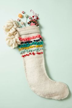 Anthropologie Pom-Stitched Stocking, Ivory w/Multi-Colored Pom-Poms, Rare Item Decoration Christmas, Noel Christmas, Merry Little Christmas, Modern Christmas, Winter Christmas, Christmas Stockings, Christmas Crafts, Holiday Decor, Colors
