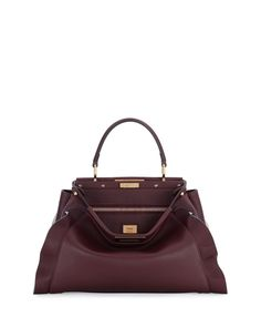 Fendi Peekaboo Medium Wave Leather Satchel Bag, Bordeaux