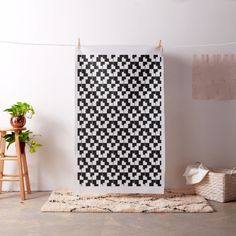 Black White Abstract Block Pattern Fabric from #Ricaso