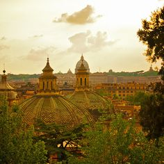 Taken from a balcony above piazza del popolo in the park of Villa Borghese.