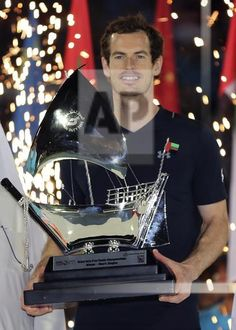 04 MARCH 2017: Andy Murray of Great Britain holds the trophy after he beats Fernando Verdasco of Spain during the final match of the Dubai Tennis Championships, in Dubai, United Arab Emirates. (AP Photo/Kamran Jebreili)