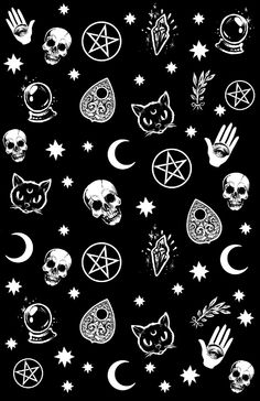 Witch pattern Art Print by medusadollmaker
