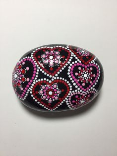 Hand Painted Mandala Stone, Valenines Day, Dot Art Stone, Healing Stone, #435...Most unique heart stone yet!!