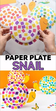 PAPER PLATE SNAIL 🐌  <br> This easy paper plate snail craft uses leftover scrap paper for the shell! You can easily make this with our snail template too! Diy Craft Projects, Kids Crafts, Fun Diy Crafts, Easter Crafts, Arts And Crafts, Craft Ideas, Preschool Crafts, Stick Crafts, Upcycled Crafts