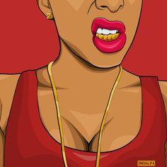 #dope #dopegirl #goldteeth #gold #cartoon #cartoonart #dopeart #artwork #trill #dopeness #tumblr #tumblrart #zdkhalifa #artlove