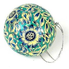 Papier Mache Ball Ornament - inch - Seafoam Handmade and Fair Trade. This papier mache ball ornament is handmade and hand painted by Indian artisans. The diameter ornament has a loop for hanging. Holiday Crafts For Kids, Kids Christmas, Christmas Crafts, Xmas, Ball Ornaments, Holiday Ornaments, Holiday Decor, International Craft, Paper Clay