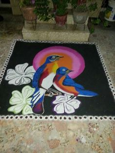 This rangoli was done by me 2 years ago. Rangoli Designs For Competition, Rangoli Ideas, Rangoli Designs Diwali, Diwali Rangoli, Simple Rangoli, Lotus Rangoli, Indian Rangoli, Flower Rangoli, Colour Combination For Dress