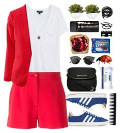 """""""adidas sneakers"""" by erycaah ❤ liked on Polyvore featuring MANGO, Moschino, Urbanears, MICHAEL Michael Kors, Chicnova Fashion, adidas Originals, Goody, Elite, GHD and Tiffany & Co."""