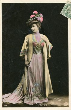 Renee Felyne | Vintage French hand tinted photo postcard - Actress miss Felyne in beautiful dress - Victorian Paper Ephemera