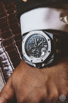 The new Audemars Piguet 44mm Royal Oak Offshore Self-Winding Tourbillon Chronograph in a carbon forged case with ceramic bezel and an approximate price tag of $255,000.