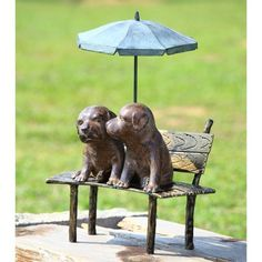 "Puppy Pair on Garden Bench by Anecdotal Aardvark. $149.95. Really, really adorable!. Aluminum. 18.5"" High 14.5"" Wide. Painted Finish. 18.5""H 14.5""W 11""D"