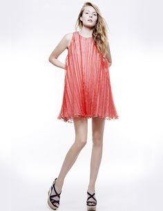 ORGANZA STROPICCIATTO + COTTON STRIPES DRESS, Colección primavera-verano 15