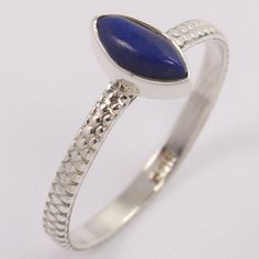 New Collection 925 Sterling Silver Ring Size US 6.75 Natural LAPIS LAZULI Gems #Unbranded