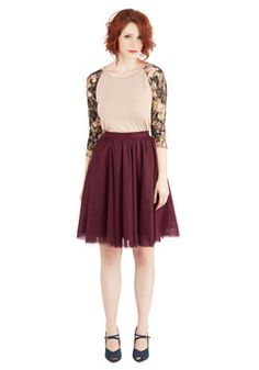 Turning in Tulle Skirt in Wine