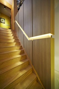 recessed, lit handrail – House at Hillside by Nota Design