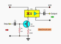 This is the linear opto isolator circuits that use a few parts and cheap. In circuit we use the opto compiler ICs number of MOC 5010 as based. Electronics Engineering Projects, Electronic Engineering, Electrical Engineering, Basic Electronic Circuits, Electronic Circuit Design, Electronics Components, Diy Electronics, Science Books, Life Science