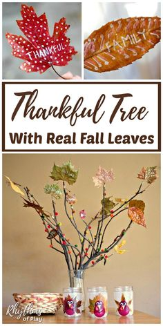 Nature Crafts How to Make a Thankful Tree with Real Fall Leaves - Creating and decorating a gratitude tree, with autumn leaves, is a fun & fulfilling activity that both kids and adults will enjoy. Learn how to make your own Thanksgiving tree nature craft! Thanksgiving Tree, Thanksgiving Crafts For Kids, Thanksgiving Activities, Autumn Activities, Thanksgiving Decorations, Tree Crafts, Fun Crafts, Nature Crafts, Thankful Tree
