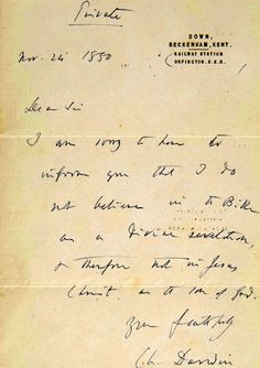Charles Darwin confessed his atheism in a private letter which has gone up for auction