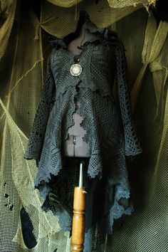 black blue coat jacket  cotton crochet lace and lining big hood