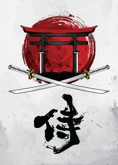 Samurai Katana, Tori Gate and Kanji